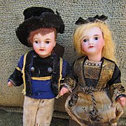 Antique French Unis Miniature Dolls with Compo Bodies