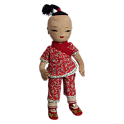 "15"" Soft Sculpted Cloth Doll in Chinese Clothing from 40's"