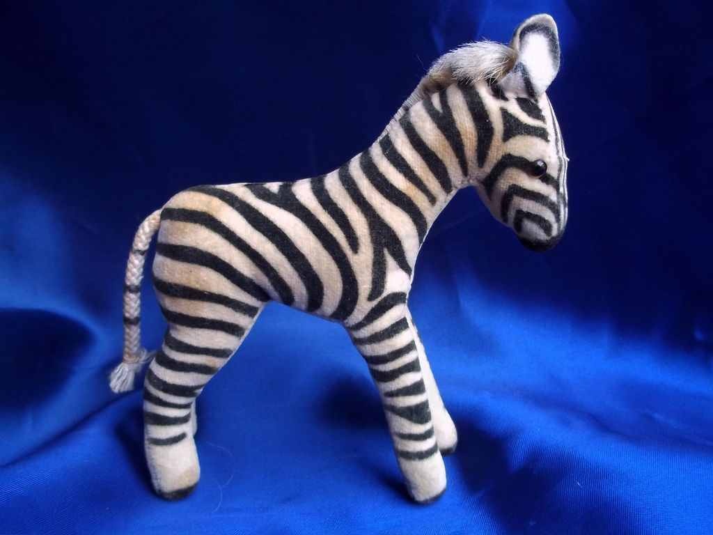 Fifties or Sixties  Steiff Zebra with silver Button