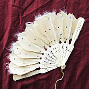 Antique Fan for Larger Doll of Celluloid and Feathers