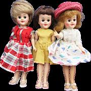 Trio of Hard Plastic 50's dolls