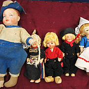 5 Dutch or Holland Dolls