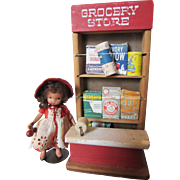 Little Wooden Grocery Store and Items
