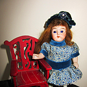 Small All Bisque Doll with Extra Outfit and Chair