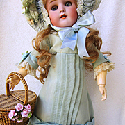 Simon Halbig Handwerck German Doll in Stunning Old Costume