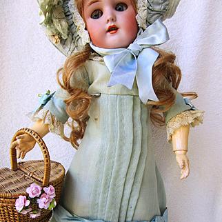 Simon Halbig Handwerck German Doll in Stunning Old Costume