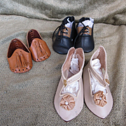 Set of three Pairs of Doll Shoes