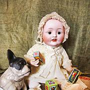 Antique Large Franz Schmidt Baby with Vintage Clothing