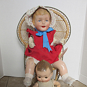 Antique 1929's compo dolls and chair