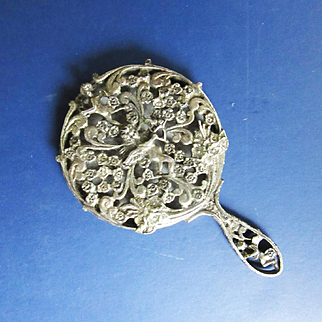 Antique Doll's Elaborate Silver Mirror