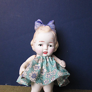 Vintage Bisque Girl with Hairbow