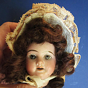 Tiny Antique AM Head with Wig and Hat