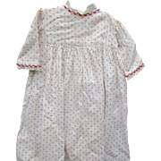 Antique Red Print Cotton Doll Dress