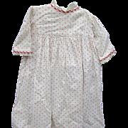 Antique Red Print Cotton Doll Dress