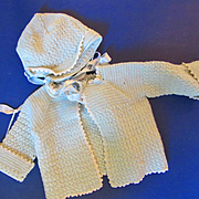 Vintage Blue Sweater and Cap Set