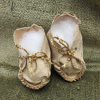 Antique Doll Leather Booties
