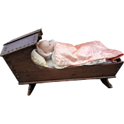 Antique Wood Hooded Cradle for Doll