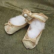 Antique Oilcloth Doll Shoes for Larger Doll