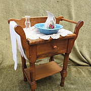 Vintage Wooden Washstand for Doll with extras
