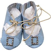 Blue Leather Doll Shoes