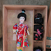 Vintage Japanese Katsuraningyo Doll in Original Wood Box