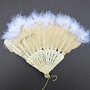 Antique Celluloid Fan with Feather Trim