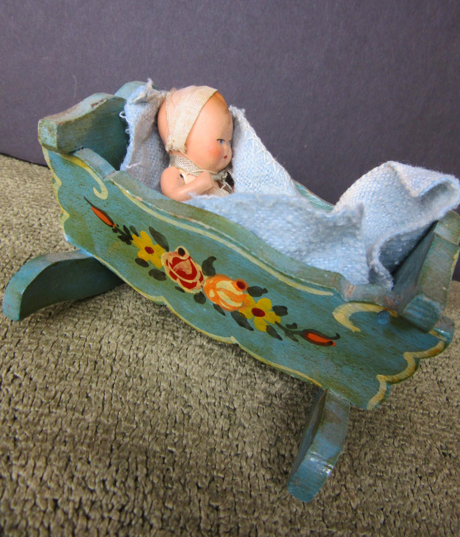 Dollhouse baby and Painted Crib