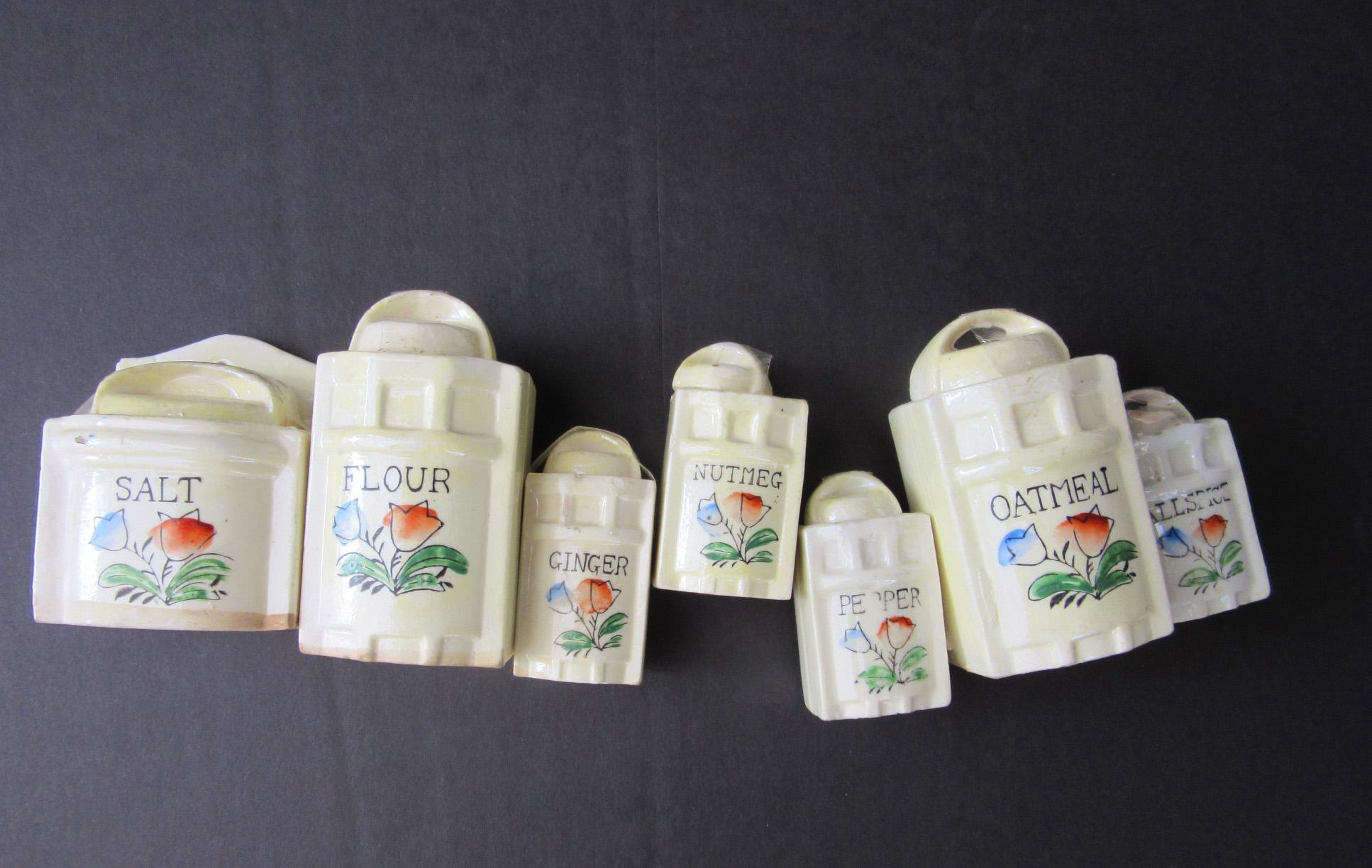 Antique Doll Size Canisters of Porcelain