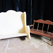 Two Vintage Wooden Doll Benches