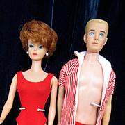 Vintage Mattel Barbie and Ken in Original Swimsuits