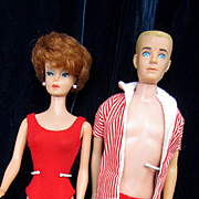 Vintage Mattel Barbie and Ken in Original Swimsuits