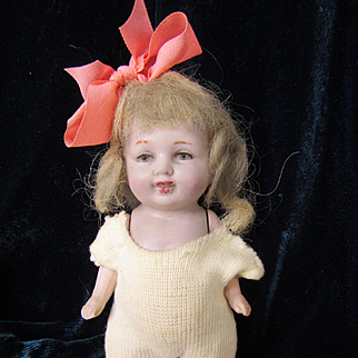 "Antique 5"" All Bisque Jointed Doll in Onesie"