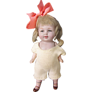 """Antique 5"""" All Bisque Jointed Doll in Onesie"""