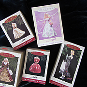 5 Vintage Hallmark Barbie Ornaments