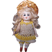 Antique All Bisque Pin Jointed Glass Eyed Doll