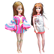 Two Vintage 1970 Dawn Dolls in Original Dresses