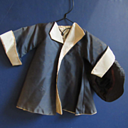 Navy And Cream Taffeta Coat and Hat for Fifties Doll