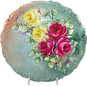 "Antique French Limoges 14"" Charger Plate Tray Hand Painted Roses"
