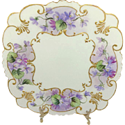 GDA French Limoges Plate Charger Hand Painted Purple Violets