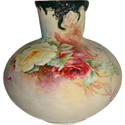 Antique Austria Vase Hand Painted Roses Artist Signed
