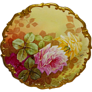 Limoges Vintage French Charger Hand Painted Pink Roses Artist Signed