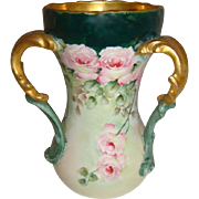 Antique French Limoges 3 Handle Loving Cup Vase Hand Painted  Pink Roses