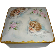 French Antique Limoges Trinket Jewelry Box Hand Painted Artist Signed Cherubs Portrait Roses