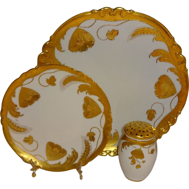 Antique Stouffer Plate Charger Muffineer Hand Painted with Poppies Wheat Stylized Embossed Design Artist Signed Carl Buschbeck