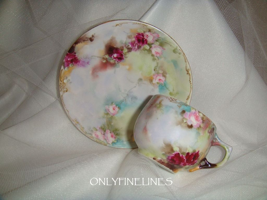 Stunning - Limoges - Cup - Saucer - Hand Painted - Roses  - Artist Signed - Circa 1910 - Museum Quality - Only Fine Lines
