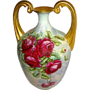 "Magnificent ""Strong Arm""  Vase  HAND PAINTED Roses Artist Signed Dated '08"