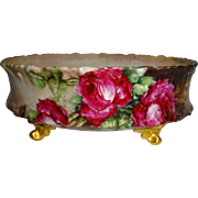 Antique French Limoges Ferner with Hand Painted Red Roses