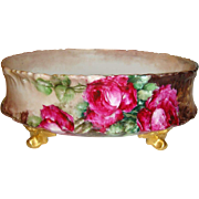 Antique French Limoges Ferner Jardiniere Hand Painted Tea Roses
