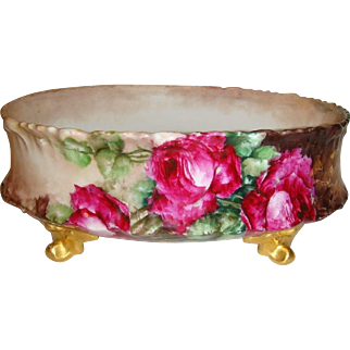 Antique Limoges Footed Ferner Jardiniere Hand Painted Roses