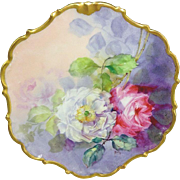 Antique French Limoges Plaque Charger Hand Painted Roses Signed